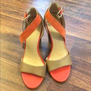 Orange and Tan Stock Heel
